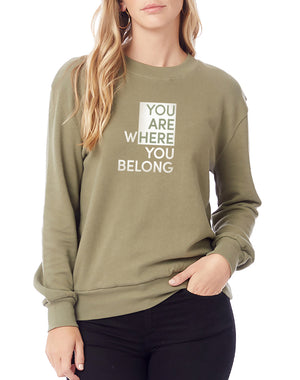 Women's You Are Here Washed Terry Sweatshirt - Breathe in Detroit