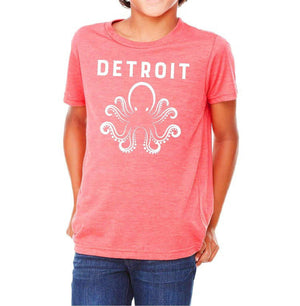 Youth Detroit Octopus Triblend Tee - Breathe in Detroit