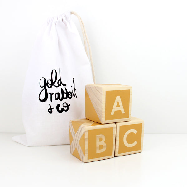 ABC/123 Stackers - mustard