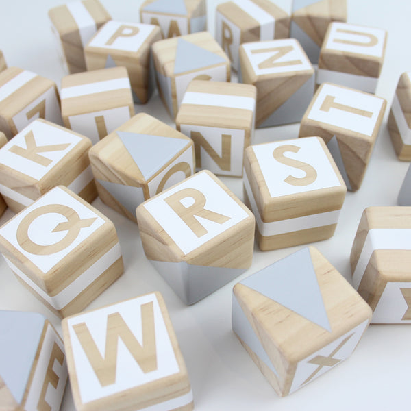 Alphabet blocks - grey + white