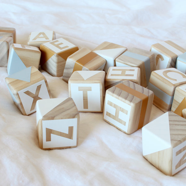 Alphabet blocks - mustard, grey + white