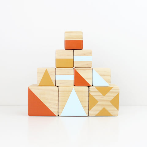 Personalised stacking blocks - Blue, mustard + orange