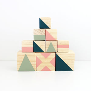 Personalised stacking blocks - olive, candy + emerald