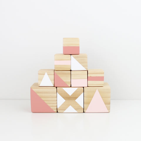 Personalised stacking blocks - pink, candy + white