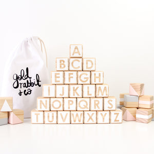Alphabet blocks - pink, grey + white