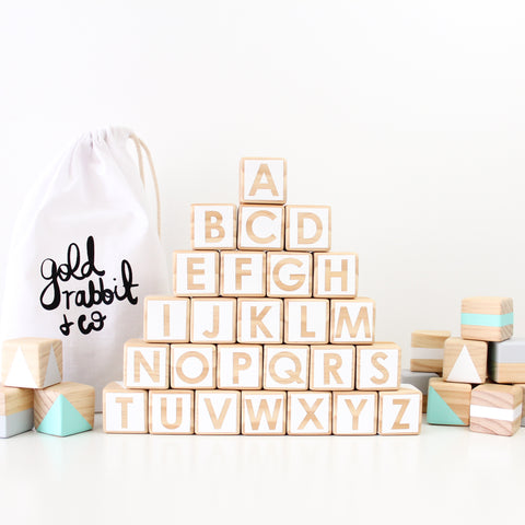 Alphabet blocks - green, grey + white