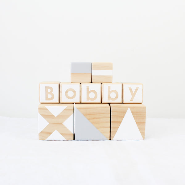 Personalised stacking blocks - grey + white