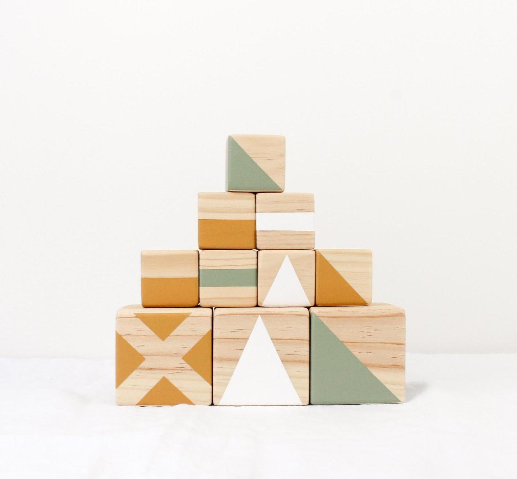 Personalised stacking blocks - mustard, olive + white