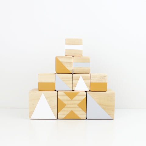 Personalised stacking blocks - mustard, grey + white