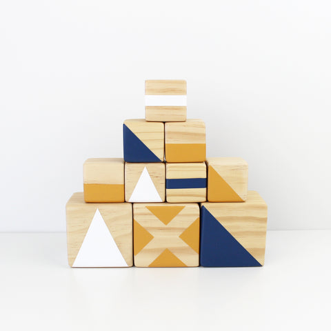 Personalised stacking blocks - navy, mustard + white