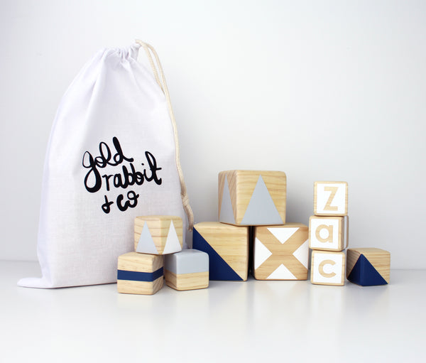 Personalised stacking blocks - navy, grey + white