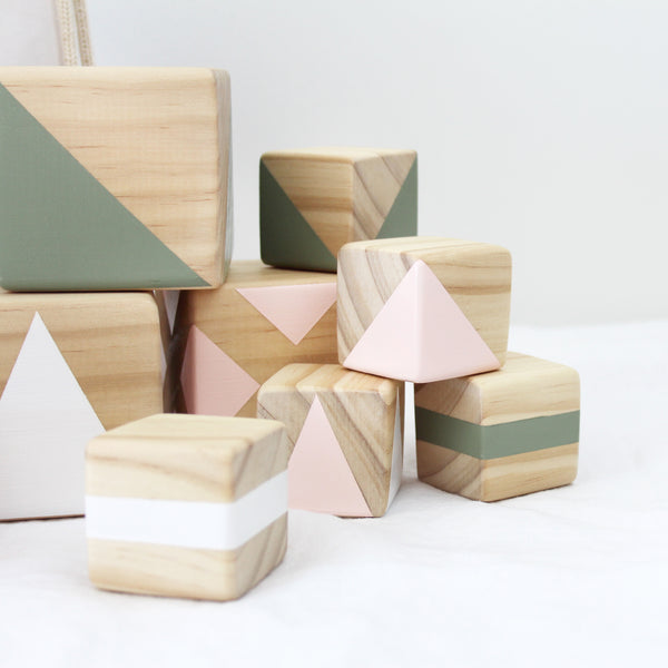 Personalised stacking blocks - pink, olive + white