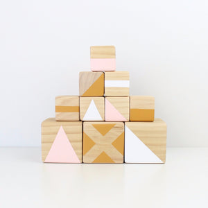 Personalised stacking blocks - pink, mustard + white