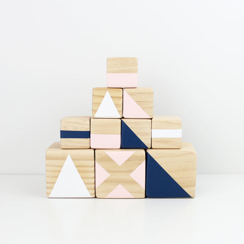 Personalised stacking blocks - navy, pink + white
