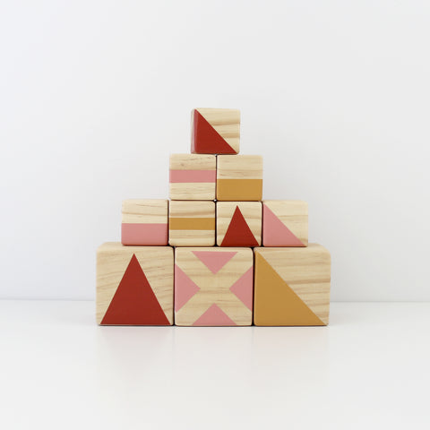 Personalised stacking blocks - mustard, burnt orange + candy