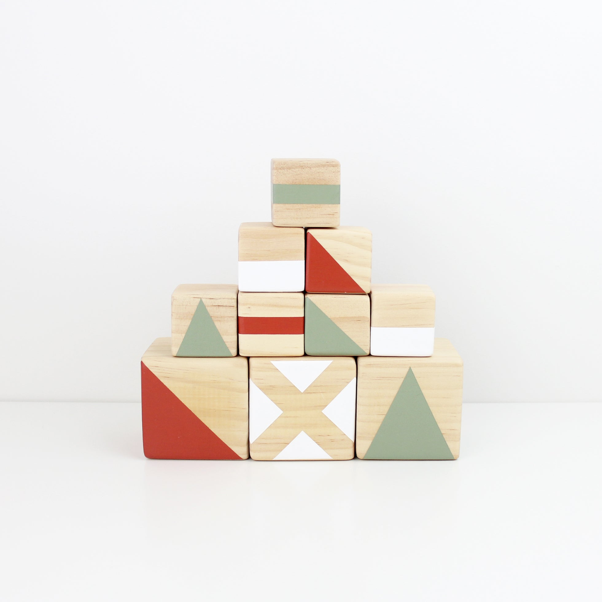Personalised stacking blocks - olive, white + burnt orange