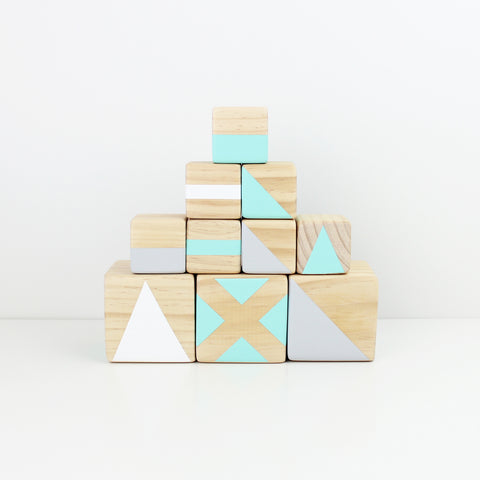 Personalised stacking blocks - green, grey + white