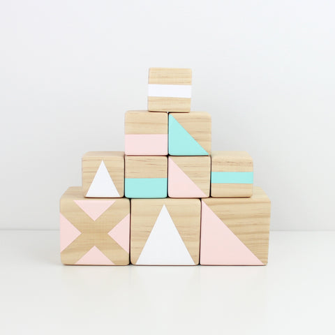 Personalised stacking blocks - green, pink + white