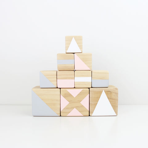 Personalised stacking blocks - grey, pink + white