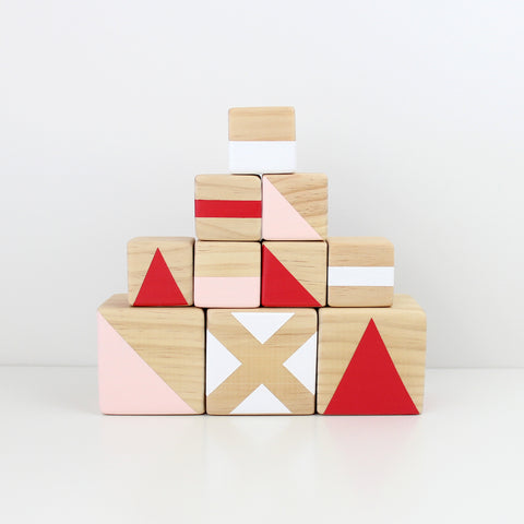 Personalised stacking blocks - pink, red + white