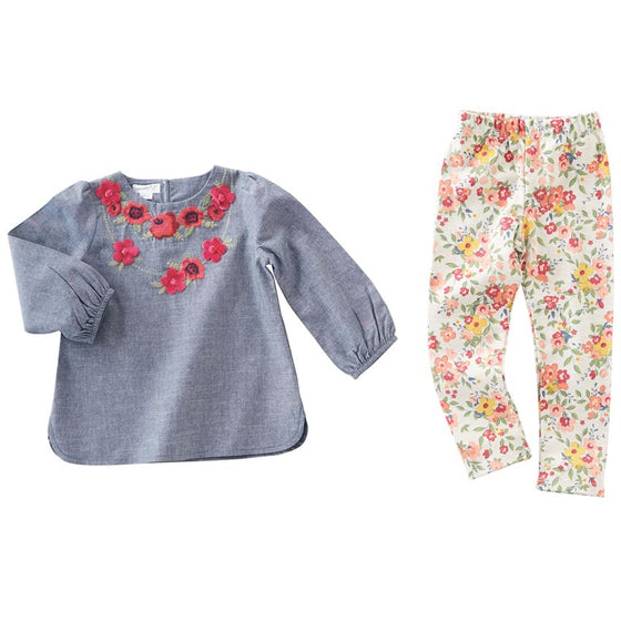 Chambray Floral Embroidered Tunic & Legging Set