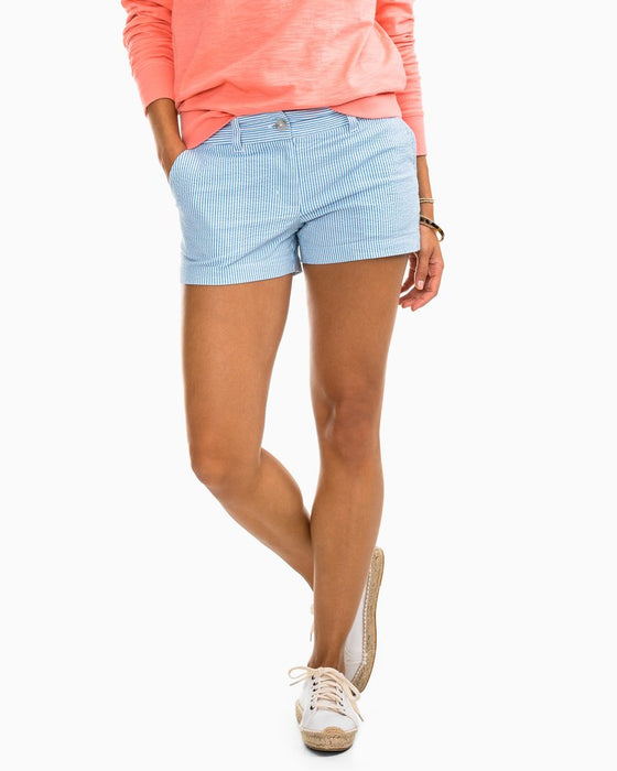 "Southern Tide Boat Blue Striped 3"" Leah Shorts"