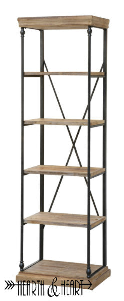 Metal and Wood Slim Bookshelf