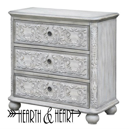 3 Drawer French Scroll Overlay Antique White
