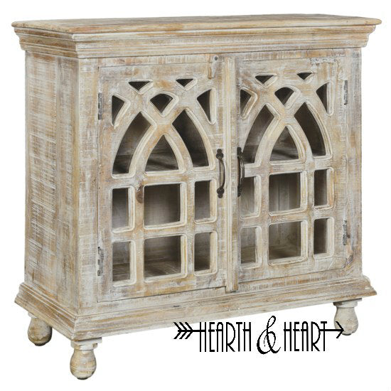 Mango Wood Cathedral Design 2 Door Cabinet