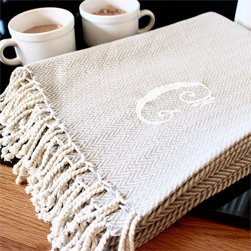 HERRINGBONE INITIAL THROW BLANKETS
