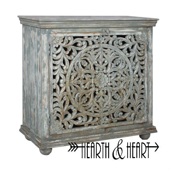 Mango Wood Carved 2 Door Cabinet