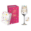 Decorative Wine Glass - Happy Birthday - Pink Confetti