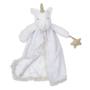 Baby Unicorn Lovie - Small Baby Toy/Blanket/Towel- Pure White Unicorn w/Sparkly Horn & Star