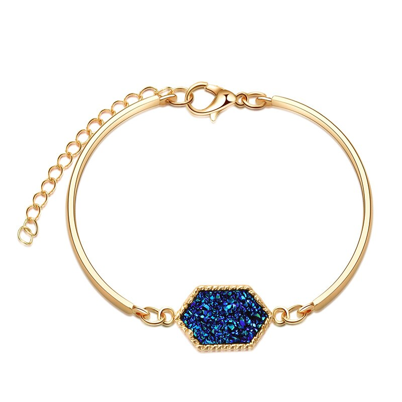 7 Colors Resin Drusy Bracelet Imitation Crystal Hexagon Stone Druzy Bracelets Gold Silver Color Jewelry for Women