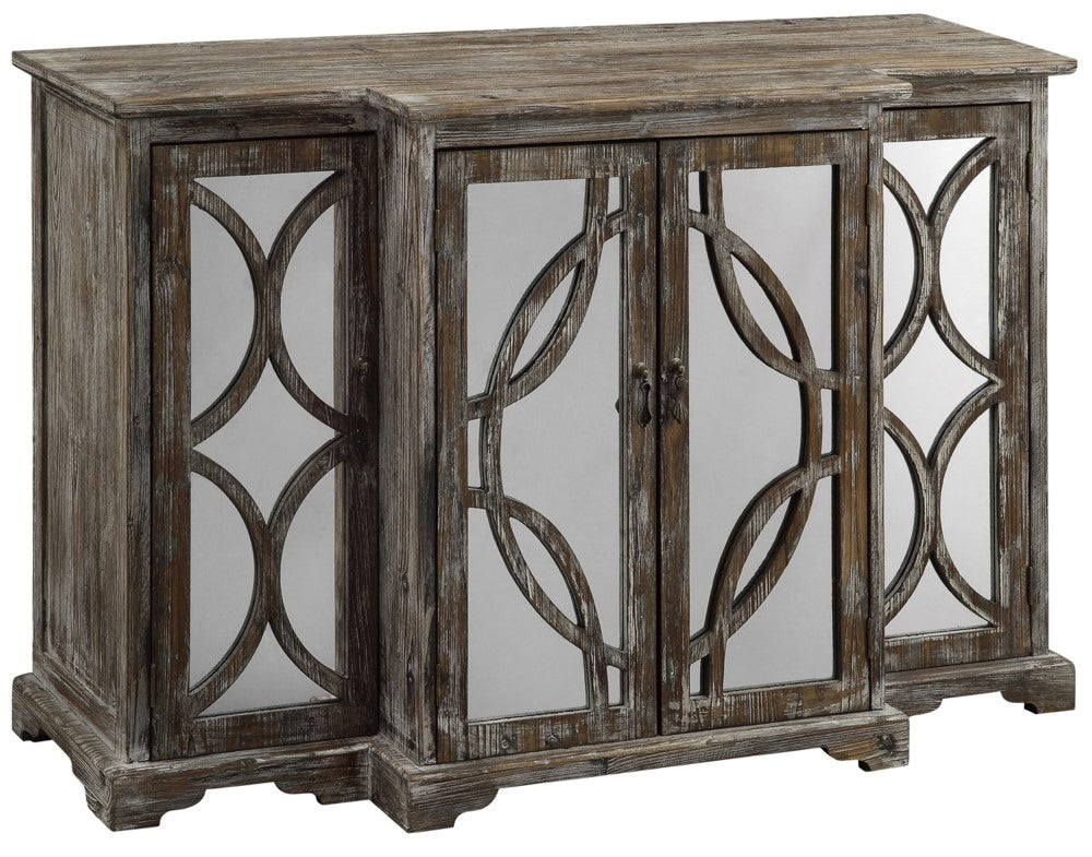 4 Door Rustic Wood and Mirror Sideboard