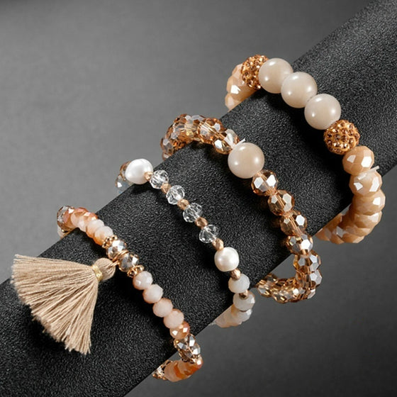 Fashion Crystal Beaded Elastic Bracelet Set Women Girls Popular Faceted Glass Pearl Beads Tassel Bracelet Handmade Jewelry Gift