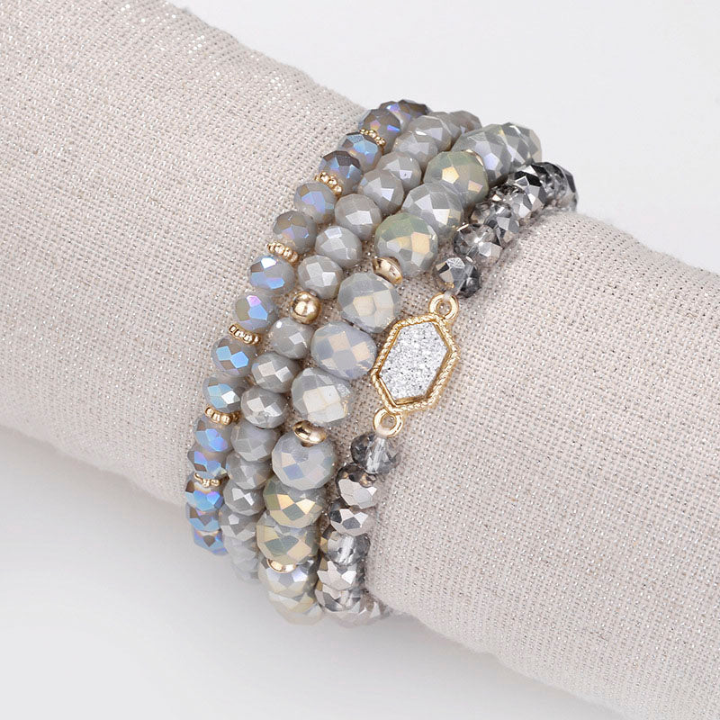 Fashion Druzy Drusy Stretchable 6 Colors Crystal Beaded Strand Bracelets Pack Set of 4