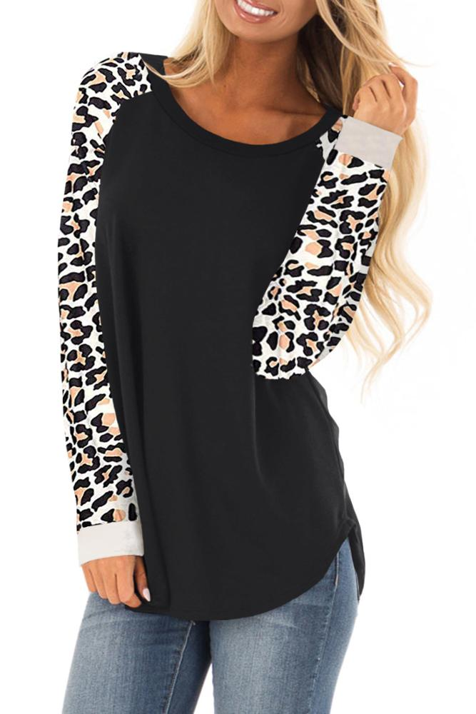 Casual Green Black Round Neck Leopard Print long sleeve women leopard blouse Top for Women
