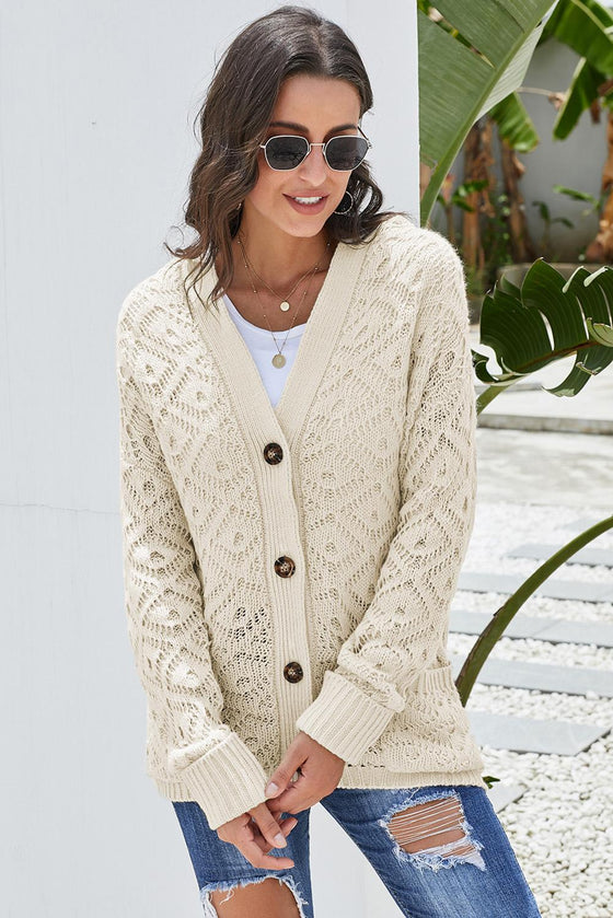 Beige Knit Hooded Cardigan