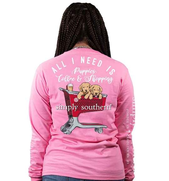 Simply Southern Puppies, Coffee, & Shopping Long Sleeve T-Shirt