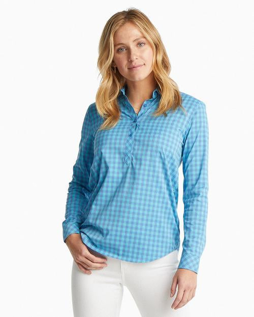 Southern Tide Maui Blue Pullover Beach Break Top