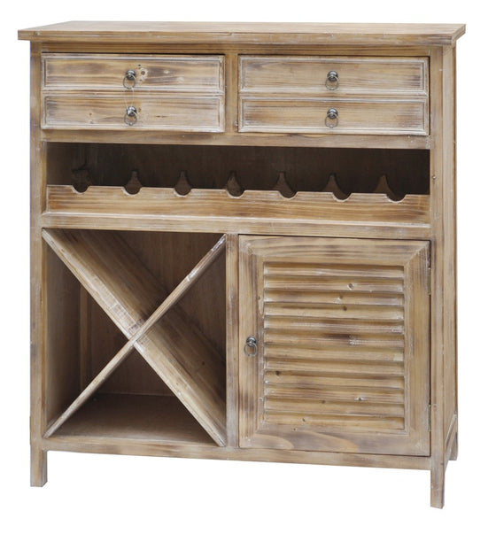 Weathered Oak Wine Cabinet