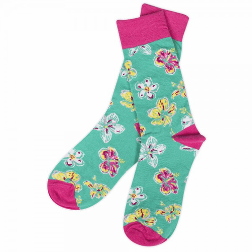 Simply Southern Floral Teal Preppy Socks