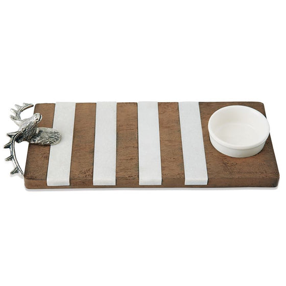 Deer Wood & Marble Dip Board Set
