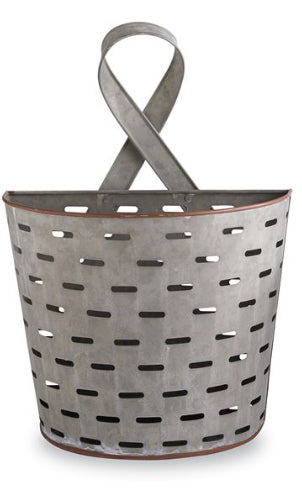 Large Perforated Tin Wall Basket