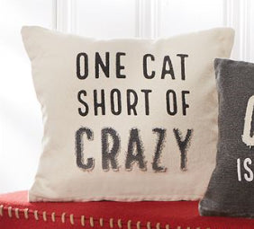 Crazy Cat Washed Canvas Pillow