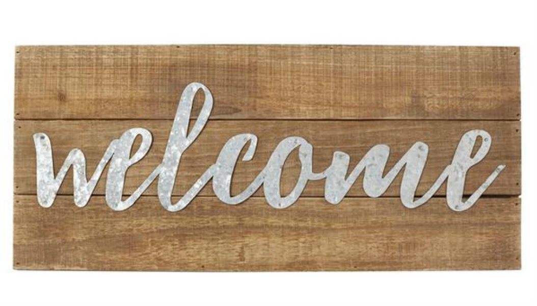 Welcome Wood & Metal Script Plaque