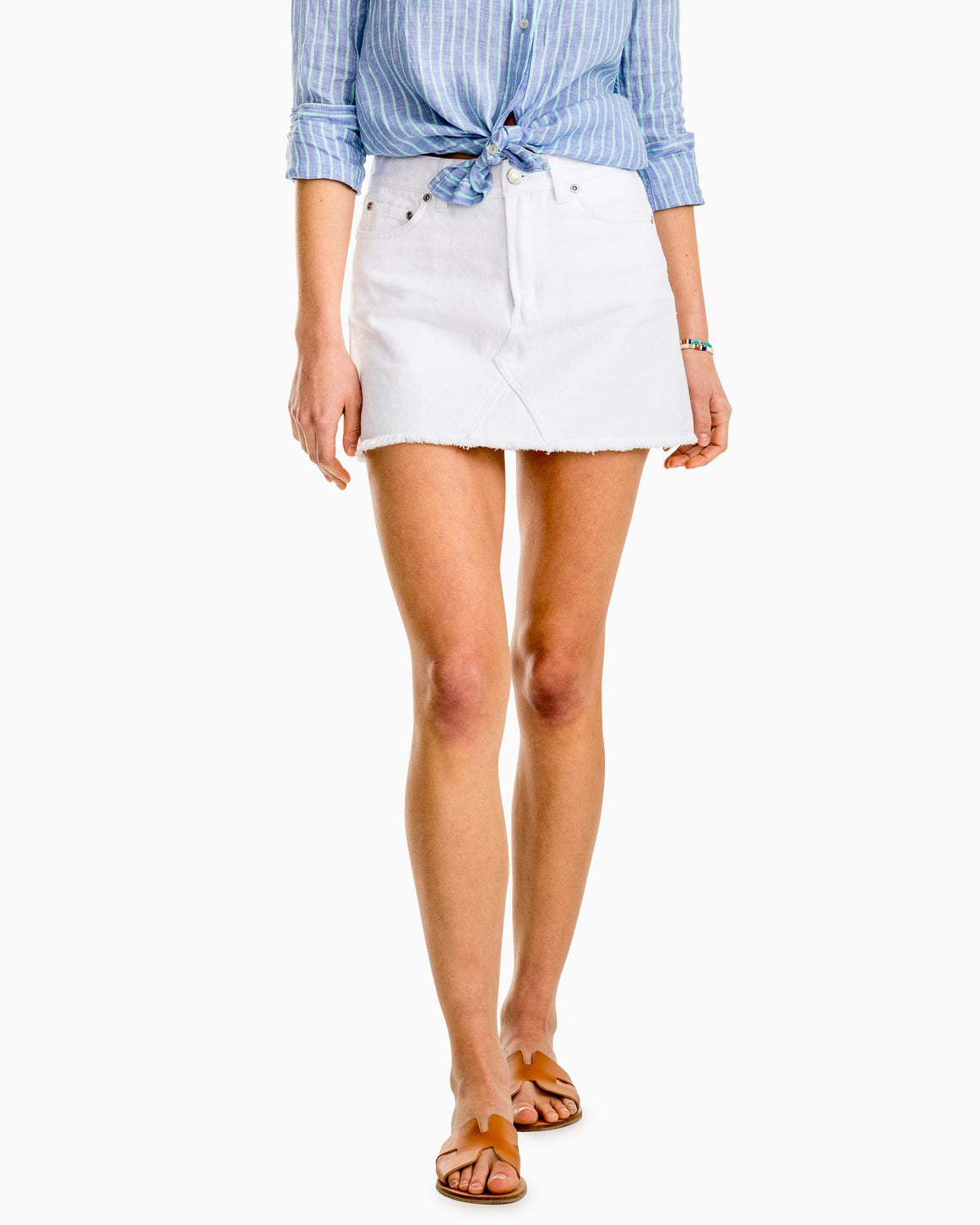 Southern Tide White Maisie Denim Skirt