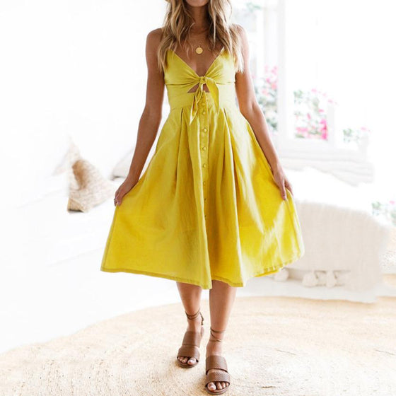 Casual Bowknot Up Ladies Summer Beach Dress