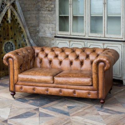 Vintage Italian Leather Study Sofa